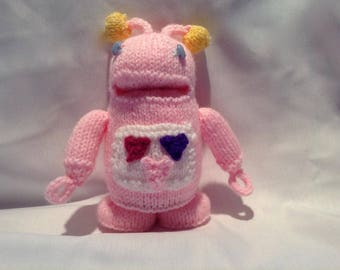 Hand Knitted Toy / Pink Alien / Robot / Stocking Stuffer / Filler / Gifts under 10