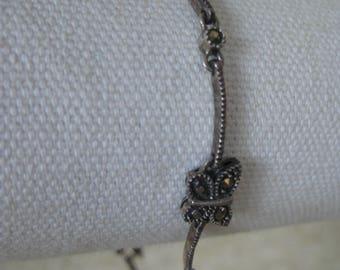 Butterfly Marcasite Bracelet Sterling Vintage Link Silver