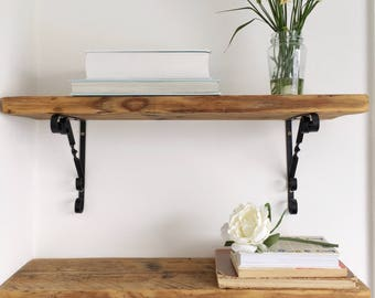 Wood Shelf - Wooden shelving - brackets - boho - rustic - cottage style