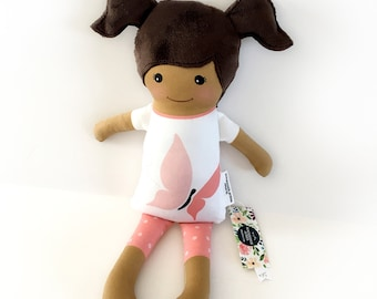 Dark Skin Fabric Doll ORGANIC Cotton - Butterfly t-shirt with pink leggings | Baby Doll | Cloth Doll Rag Doll