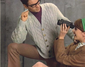 Zig Zag • 1960s V-Neck Cargian Sweater Patterns • 60s Vintage Ribbed Cabled Knitting Pattern • Retro Men's Knit Digital PDF