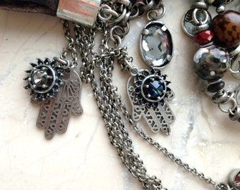 Extra Long Beaded Necklace Silver Look