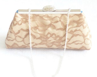 Bridesmaid Gift Clutch, Champagne, Latte Lace And Cornflower Blue Bridal Clutch, Mother Of The Bride Gift, Bridal Shower Gift, Gift Ideas