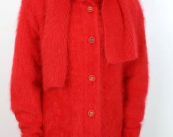 80s BELLDINI ANGORA RABBIT hair cardigan with scarf size large