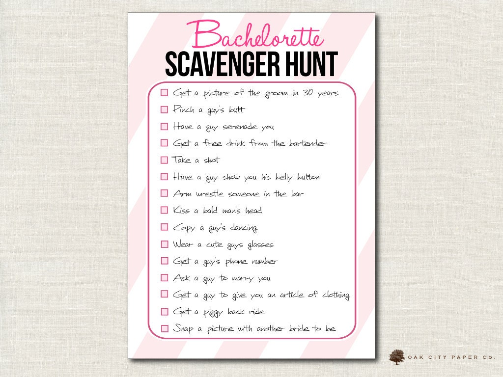 Bachelorette Scavenger Hunt Checklist Party
