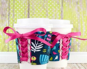 Beverage Corset Sleeve // Park Slope Cup Cozy // reversible // adjustable // to go cup cozy // cup sleeve // tea cup cozy // eco-friendly