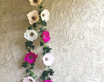 Crepe paper flower garland crepe paper flower and ivy garlands mightylinksfo Choice Image