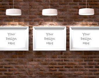 Staged stock photography, lit brick wall and frames, 3 frames product mockup,design mockup,print background, photo backdrop DIGITAL DOWNLOAD