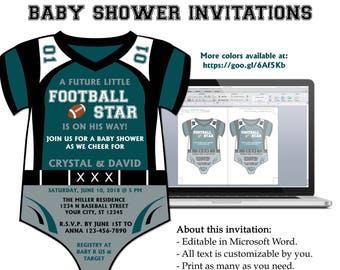 Diy do it yourself basketball jersey onesie baby shower diy do it yourself football jersey onesie baby shower invitation editable stopboris Gallery