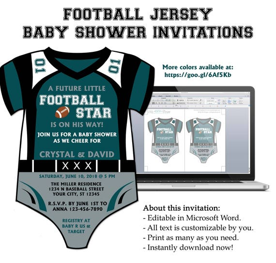 Diy do it yourself football jersey onesie baby shower stopboris Gallery