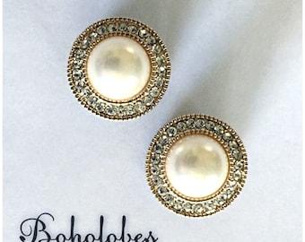 "Gold pearl rhinestone wedding hider plugs gauges sizes: 8g, 6g, 4g, 2g, 1g, 0g, 00g, 7/16"", 1/2"", 9/16"""