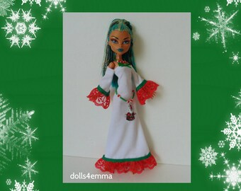 Monster High Nefera Doll Clothes - Christmas Fashion - Handmade Gown Belt and Necklace - Santa Claus - by dolls4emma