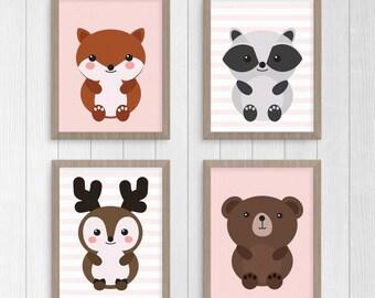 Woodland Animal Print Set,  Girls Woodland Animal Nursery Printable Wall Art, Pink Nursery Decor, Digital Download Print: fox, deer, bear