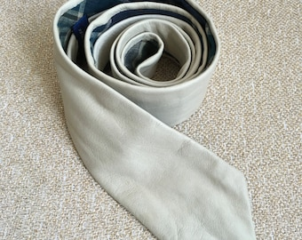 Skinny Leather Tie // Soft Cream Leather Skinny Tie With Woven Cotton Lining // Gifts for Him // Wedding Tie