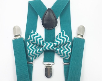FREE DOMESTIC SHIPPING! Teal suspenders  + Teal and Silver Chevron Bow tie toddler kids holidays photos family photoshoot
