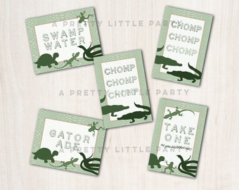 REPTILE party signs - Reptile Lizard Snake Party - Party Supplies