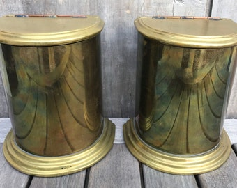 Vintage Sarreid Ltd. Solid Brass Canister Bookends Copper Hinged Lids #2059 c. 1970 **FREE SHIP**