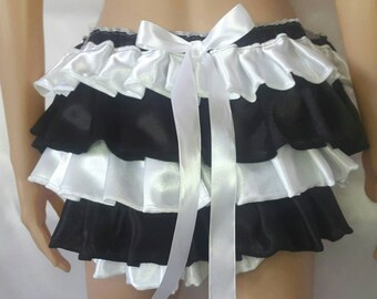 MADE TO ORDER..Satin Sissy Ruffle Bottom knickers..with satin ruffles..any size..any colour