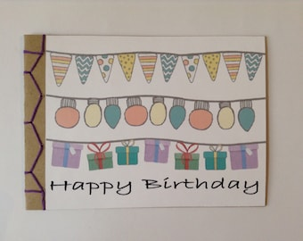 Happy Birthday Celebration Greeting Card Hand Bound Hand Made