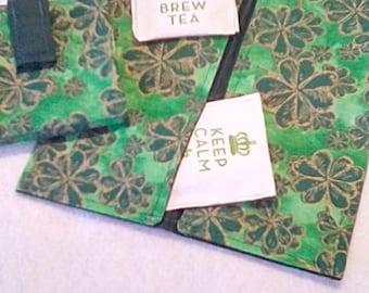 Tea Bag Wallet, SHAMROCK GARDEN, Four Pockets, Handmade, FREE Shipping USa, Holds Tea & Sweetener - Also Travel Jewelry Wallet