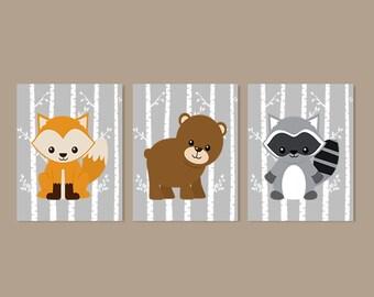 WOODLAND Nursery Art, Woodland Nursery Decor, Forest Animals, Baby Boy Nursery Art, Set of 3 Prints Or Canvas, Fox Bear Raccoon, Birch Tree