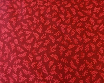 Quilting Treasures Red w/Leaf Fabric 53