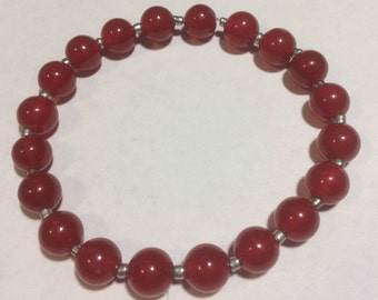 Beautiful Red Ruby Gemstone Bracelet 8""
