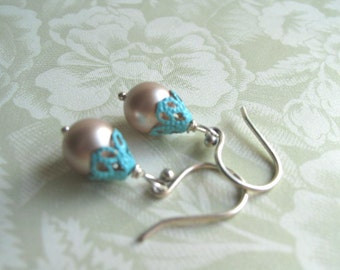 Pearl Earrings Pink Almond Turquoise Fiigree caps Bali Sterling choice of Pierced or Clip-On