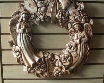 Angel Christmas Wreath ceramic door hanger Christmas decorations gifts for her Christmas Angel Decoration Wreath housewarming outdoor