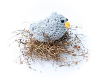Harris Tweed Pale Gray Bird Amigurumi