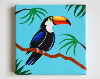 "Original Toucan painting, Tropical Bird Art, Nursery Bird decor, Rainforest Nursery, Toucan art, Tropical decor, 8"" x 8"" canvas artwork"
