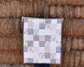 Blush Modern Quilt, Pink Grey and White Baby Quilt, Modern Baby Quilt, Modern Baby Blanket, Baby Blanket,