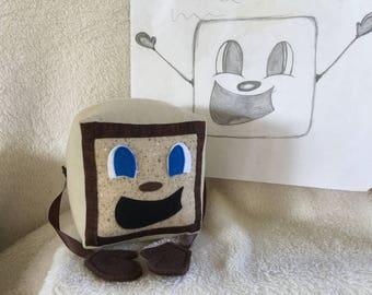 "Freckle Box Tim! Tiny Box Tim Plushie! Plush Toy. 5"" cube, Pillow. Markiplier Youtuber."