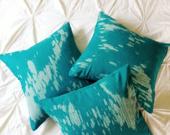 FLASH SALE! teal green linen pillow covers, hand-printed, unique