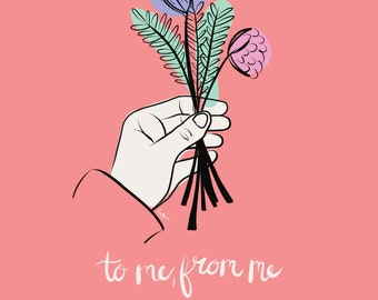 To Me, From Me Digital Art Print, Hand with Flowers, Digital Download