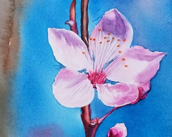 Pink Flower Original Watercolor Painting Handmade Art Wall Decor