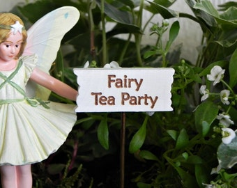 Fairy Garden accessories sign miniature Fairy Tea Party accessory for miniature garden or terrarium