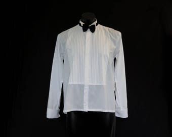 Vintage Menswear - Vintage Pierre Cardin Dress Shirt - Formal Shirt With Wing Tip Collar, Tucks, French Cuffs and Double Buttons