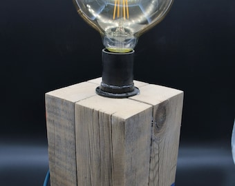 Lamp in wood cube / blue painted base.