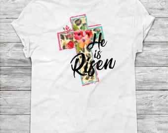 He is Risen, Gift for Mom, Matthew 28 6, Easter Shirt, Resurrection, He is Not Here He is Risen, Easter Bible Verse, Women's Shirt, Leopard