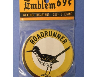 Vintage 70s ROADRUNNER EMBLEM Metallic Sticker Decal!