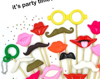 Plastic Photo Props, 3D Mustaches and lips on sticks