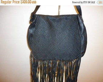 50% OFF Beautiful Black Leather Fringe Shoulder/Crossbody Bag