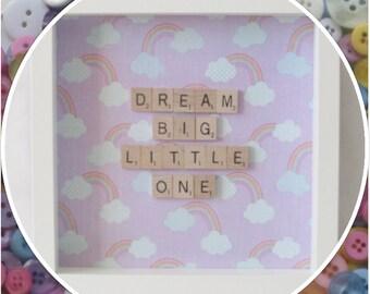 Handmade 'Dream Big Little One' New Baby Scrabble Frame