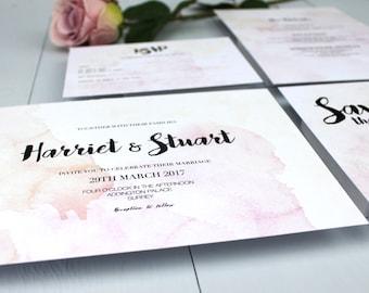 Watercolour Wedding Invitation Suite, Pink Wedding Invite, Wedding Invitation Suite