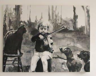 Four - original monochrome oil painting