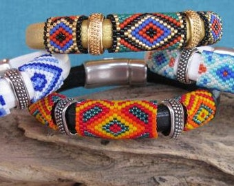 International Tiles Peyote Leather Bracelet