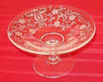 """Reduced - Vintage New Martinsville """"Prelude"""" Pattern Etched Glass Compote"""