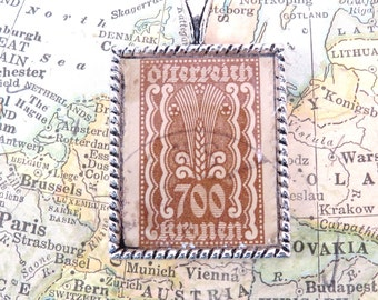 Vintage Osterreich Austria Postage Stamp Necklace Pendant Key Ring