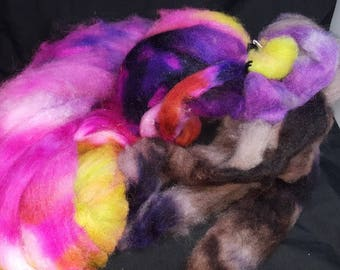 Alpaca cormo wool firestar roving hand dyed tuscany chartruse pink purple brown